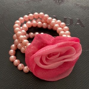 Rose Corsage Bracelet- 4 rows pink pearlized beads